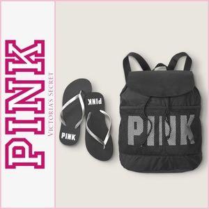 NEW Victoria's Secret PINK Backpack & Flip Flops